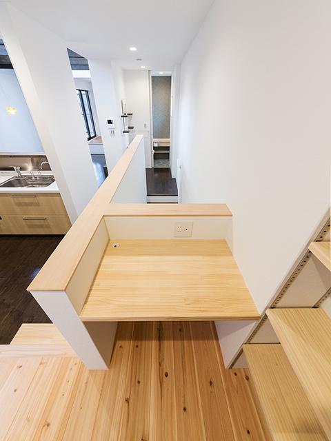 ちょっとしたスペースを有効活用した造り付け家具の机!