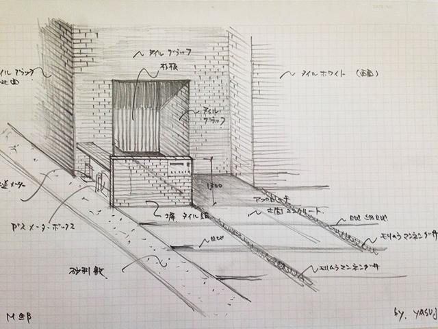 玄関外構のイメージスケッチ